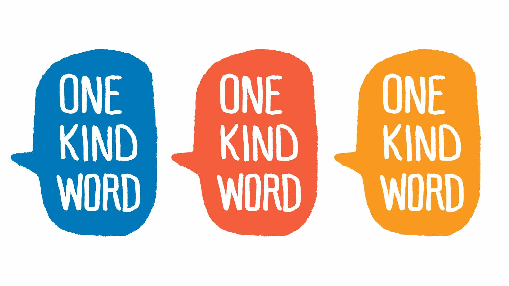One Kind Word logo in 3 colors: Blue, Red-Orange, and Yellow