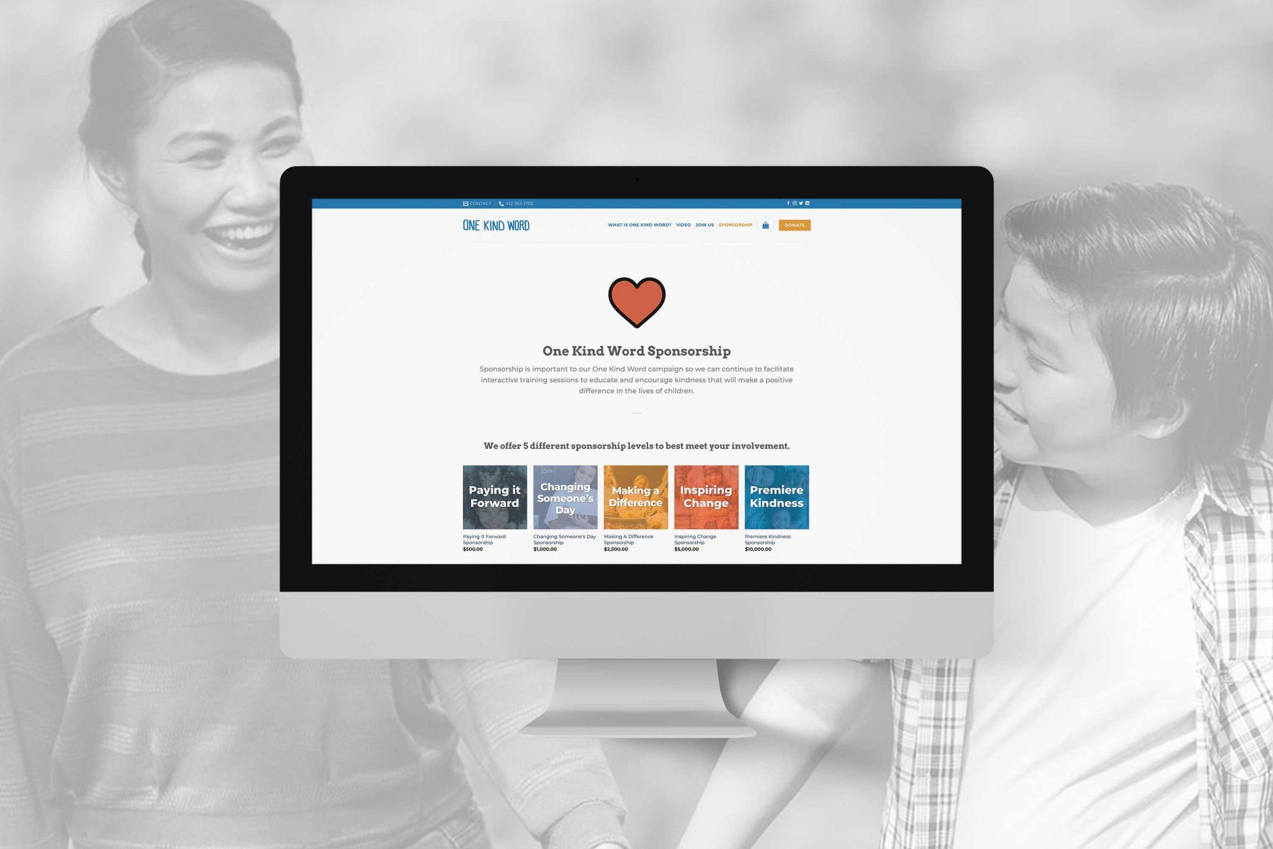 photo mockup of One Kind Word website, sponsorship page